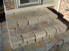 Patio paver ideas for your garden or backyard. Stone, brick, and block paver design ideas. Cement Steps, Brick Steps, Paver Walkway, Diy Paver, Paver Sand, Paver Edging, Paver Stones, Walkways, Front Porch Steps