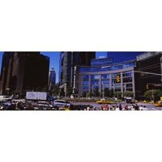 Traffic on the road in front of buildings Columbus Circle Manhattan New York City New York State USA Canvas Art - Panoramic Images (18 x 7)