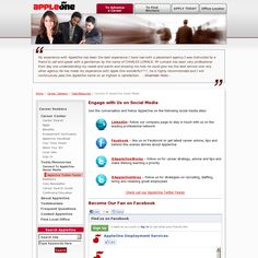 AppleOne Social Media Accounts    Check out the AppleOne social media accounts - LinkedIn, Facebook and Twitter.    'https://www.appleone.com/Career_Seekers/ToolsAndResources/social-media.aspx' snapped on Snapito!