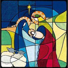 5 Christelijke kerstkaarten woodmansterne - glas in lood stal met Jezus, Maria en Jozef