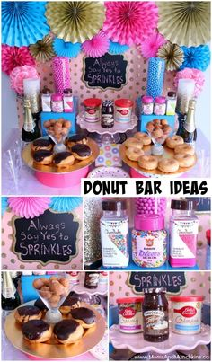Donut Party Ideas - creative ideas for a donut buffet or bar where guests can decorate their own dessert. Perfect for a slumber party.