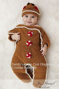 Crochet gingerbread man outfit.