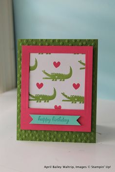 Stampin' Up Handmade Greeting Card-- Birthday,  Alligator