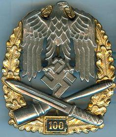 Infanterie allemande Army General Assault Antique badge. 100 assault