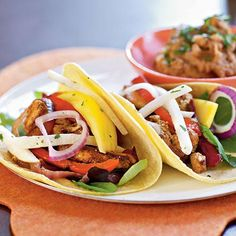 Ancho Chicken Tacos with Cilantro Slaw and Avocado Cream Recipe