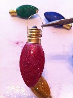 .Glittered vintage christmas light bulbs