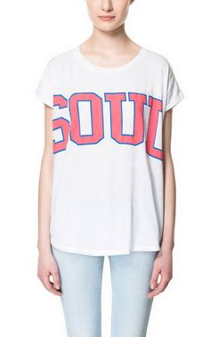 NWT ZARA SOUL T-SHIRT White Pink SIZE MEDIUM