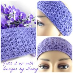 Lavender Hand Crochet Lacy Extra Soft Thick Ladies Ear warmer Headband | jazzitupwithdesignsbynancy - Crochet on ArtFire