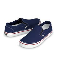 Take a look at this Navy & White Hover Slip-On - Men & Women by Crocs on #zulily today!