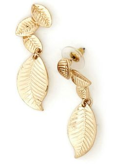 Not usually a gold fan, but these are pretty :-) --Fluttering Foliage Earrings, #ModCloth