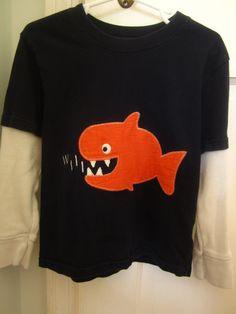 Personalized Boys Fish T Shirt - Boys Tshirt with Orange Fish Appliqué . $20.00, via Etsy.