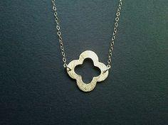 Gold Clover Quatrefoil Necklace  Lucky Necklace