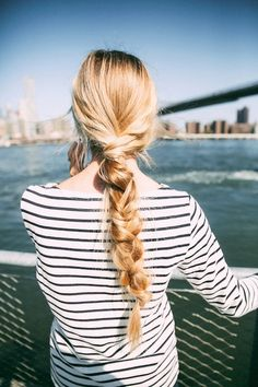 21 Braid Ideas For Long Hair // thick braided ponytail & a striped shirt #style #fashion #hairstyle