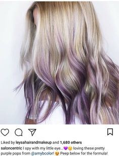 Discover recipes, home ideas, style inspiration and other ideas to try. Purple Blonde Hair, Icy Blonde, Blonde Hair With Highlights, Ombre Hair, Lavender Highlights, Peekaboo Highlights, Violet Hair, Burgundy Hair, Red Hair