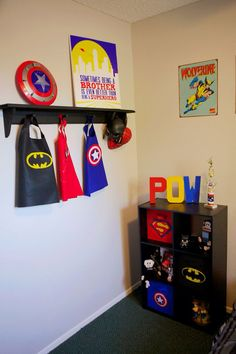 I've pinned pretty much all this stuff. Same Wolverine sign, but have the giant Captain America shield for Dom's room. Superhero Bedroom {Custom Corner - Felt Love} - Home Decorating DIY Big Boy Bedrooms, Kids Bedroom, Bedroom Decor, Bedroom Ideas, Trendy Bedroom, Bedroom Signs, Batman Room, Superhero Room, Superhero Ideas