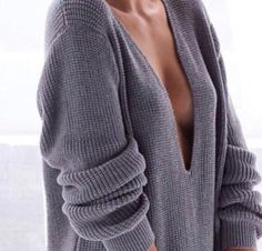 deep V neck jumper.