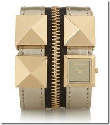 Karl Lagerfeld Zip Studded Leather Watch