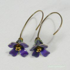 Art Nouveau Enamel Bluebell Gilt Silver Earrings.