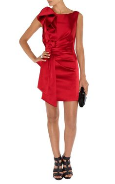 Karen Millen Signature Stretch Satin Dress Red Dl073