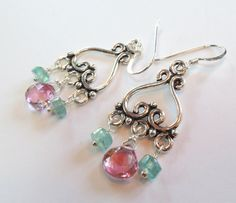 Pink Topaz, Apatite, Sterling Silver Chandelier Earrings – Beth Lerner Jewelry http://bethlernerjewelry.com/collections/earrings/products/pink-topaz-apatite-sterling-silver-chandelier-earrings