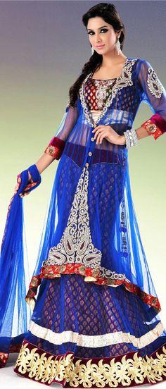 Royal #Blue Flare and #Jacket Style Net #Lehenga Choli With Dupatta @ $613.44