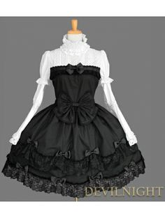Black and White Cotton Long Sleeves #Sweet #Gothic #Lolita #Dress