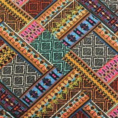 Bright Ethnic Patchwork Cotton Spandex Knit Fabric :: $7.50