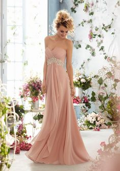 Embellished Strapless Chiffon Gown in Blush from Voyage by Mori Lee ‪#‎WeddingsatMissesDressy‬
