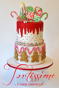 ~Sweet Treats Christmas Cake by Tortissime Cake Design~ This cake was created for maximum FUN in mind! My Sweet Treats Christmas Cake! Christmas Cake Designs, Christmas Cake Decorations, Christmas Sweets, Holiday Cakes, Christmas Goodies, Christmas Candy, Christmas Baking, Holiday Treats, Christmas Themed Cake