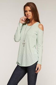 Mint speckled cut out shoulder top S-M-L $29 shipped Purchase here https://www.facebook.com/chasingstarsboutique/photos/pcb.1640059752900537/1640056926234153/?type=1&theater