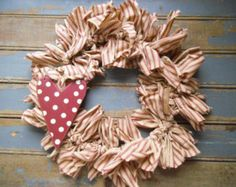 Valentine's Day Wreath -Valentine Wreath - Heart - Heart Wreath -Wedding Wreath -Rag Wreath - Ticking - Dots -  Door Wreath or Wall Wreath