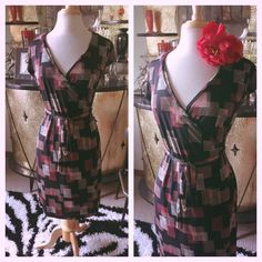 Retro Wrap Dress Black Pink Print PinUp Rockabilly Swing M L 1940s 40s…