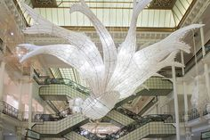 within paris' le bon marché rive gauche department store, ai weiwei presents an expansive exhibition of bamboo + paper kite installations. Ai Weiwei, Chinese Kites, Bon Marché Rive Gauche, Wei Wei, Paris Wallpaper, Chinese Mythology, Colossal Art, Wallpaper Magazine, Paper Lanterns