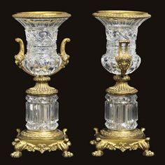 A pair of Napoleon III gilt-bronze and cut-glass urns ATTRIBUTED TO BACCARAT, CIRCA 1855