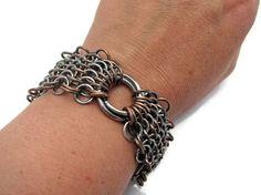 Sterling silver and copper European steampunk bracelet
