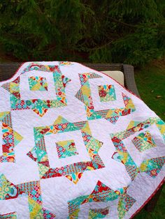 Joel Dewberry Quilt by TheSwankyBlankie on Etsy Picnic Blanket, Outdoor Blanket, Herringbone Quilt, Bright Quilts, Quilling, Stitch, Sewing, Red, Crafts