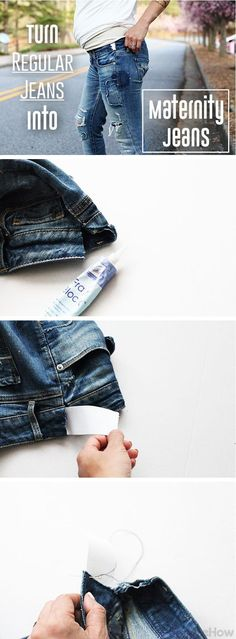 Convert your favorite pair of jeans into comfortable and still trendy maternity jeans for little to no cost! DIY tutorial with pictures here: http://www.ehow.com/how_6139378_convert-regular-jeans-maternity-jeans.html?utm_source=pinterest.com&utm_medium=referral&utm_content=inline&utm_campaign=fanpage