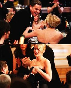 Here he is when she won a Golden Globe and he was really happy for her: