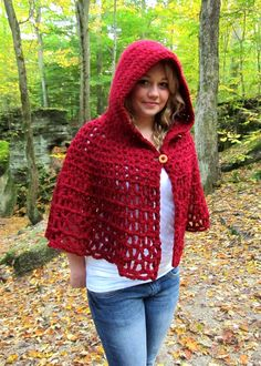 Crochet Pattern Wildwood Capelet Hooded Cape PDF Digital Crochet Pattern