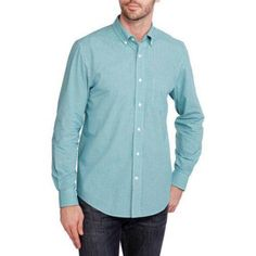George Men's Long Sleeve Poplin Shirt, Size: Large, Blue