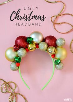 DIY Christmas Headband: Ugly Sweater Accessory - Consumer Crafts - - This ugly DIY Christmas headband is festive, simple to make and comes together in less than an hour! Customize it to complement your ugly Christmas sweater. Tacky Christmas Party, Best Ugly Christmas Sweater, Diy Christmas Hats, Christmas Headbands, Diy Christmas Hair Accessories, Diy Christmas Party Decorations, Diy Christmas Costumes, Christmas Dress Up, Homemade Christmas