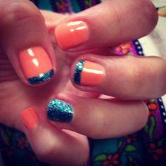 Peach and blue glitter manicure