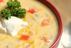 LF - Tex Mex Chicken Soup - omit the onion and garlic, treat the milk, and I would use a white sauce made with LF chicken broth instead of the cream of chicken soup.