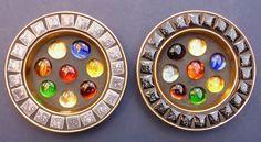 Pair Fabulous Vintage Retro Multi Coloured Glass Pebble Pin Dishes 1960s Kitsch