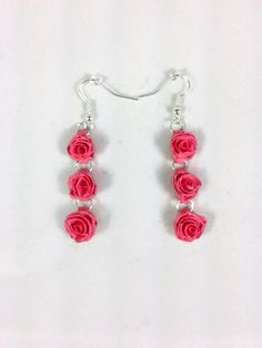 Pink Roses Paper Quilled Earrings - paper quilling earrings, paper quilled jewelry, paper quilling jewelry, pink rose earrings, gift for her
