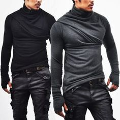 Tops :: Tees :: Avant-garde Bandage Armwarmer Turtle-Knit 32 - Mens Fashion Clothing For An Attractive Guy Look