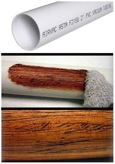 Making PVC Look Like Wood I came up with this simple trick to give PVC pipe a realistic wood texture when I built a few plastic didgeridoos a couple of years ago. It would also work for theater, home decor or backyard tiki-bars! Wood Home Decor, Easy Home Decor, Cheap Home Decor, Pvc Pipe Projects, Home Projects, Painting Plastic, Painting Pvc Pipe, Do It Yourself Home, Wood Texture