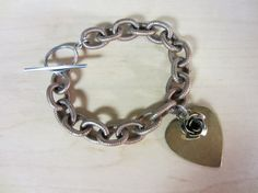Rose and Heart Charm Chunky Vintage Chain by ChrissyGemmillJewels, $52.00