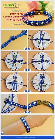 Kumihimo Tutorial - How to Make a Blue Kumihimo Braided Friendship Bracelet from LC.Pandahall.com: