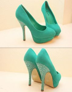 Mint high heels make em wedges then we can talk. Love the idea n style but  not the color~green high heels e0fbff0d5f6